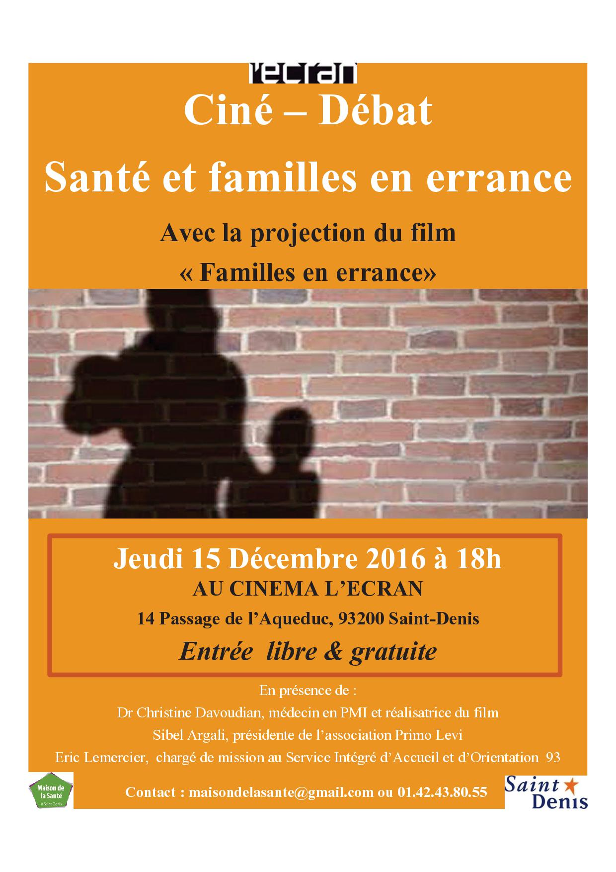 """Ciné débat """"Santé et familles en errance"""" 15 Décembre 2016"""